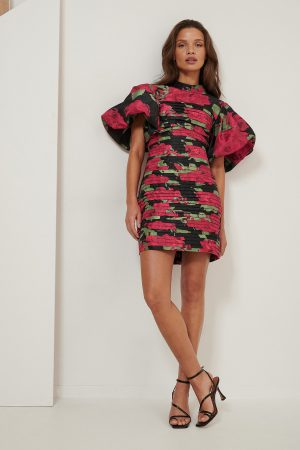 NA-KD ART Volume Shoulder Mini Dress - Multicolor