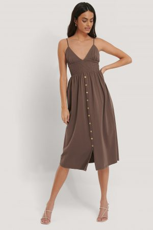 Beyyoglu Button Detailed Cotton Dress - Brown