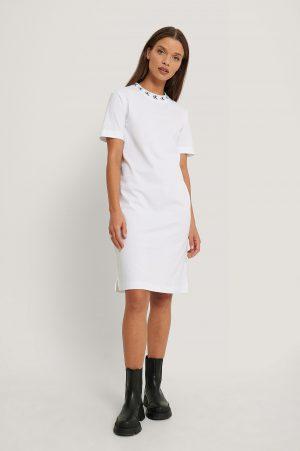 Calvin Klein Miniklänning Med Logga - White