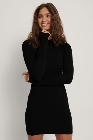 Danaë x NA-KD Ribbad Jerseyklänning Med Lång Ärm - Black