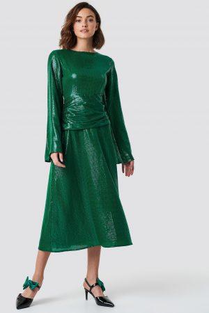 NA-KD Party Gathering Detail Sequins Midi Dress - Green
