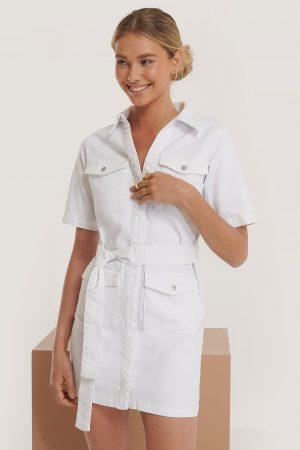 Erica Kvam x NA-KD Denimklänning - White