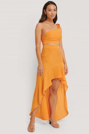 The Fashion Fraction x NA-KD Maxiklänning Med En Axel - Orange