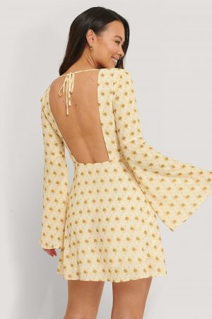 The Fashion Fraction x NA-KD Open Back Trumpet Sleeve Dress - Yellow
