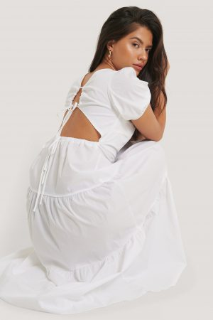 Glamorous Tiered Puff Sleeve Tie Back Dress - White