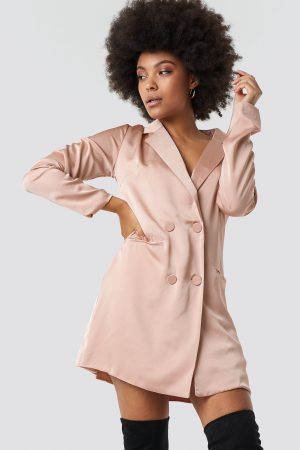 Glamorous Satin Suit Dress - Pink