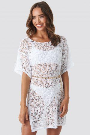 Hanna Weig x NA-KD Crochet Beachwear - White