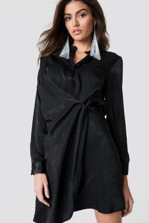Hannalicious x NA-KD Draped Shirt Dress - Black