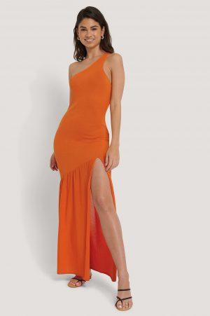 Hoss x NA-KD Stickad Klänning Med Sidoslits - Orange