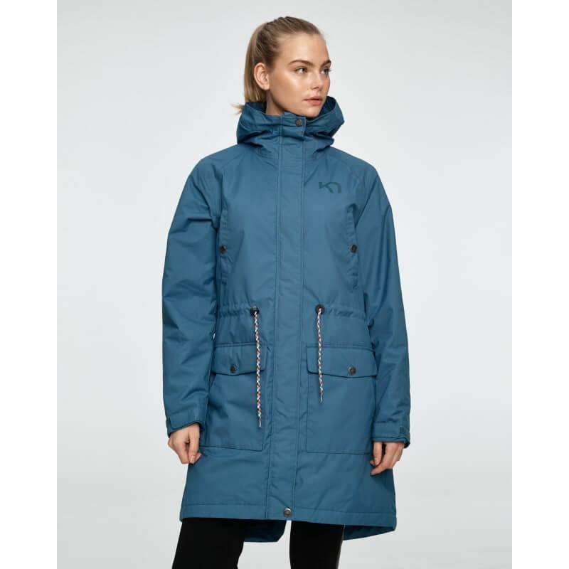 Blå jacka i parka modell lång