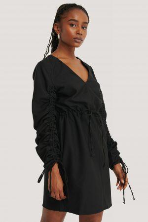 Kristin Rödin x NA-KD Drawstring Detail Mini Dress - Black