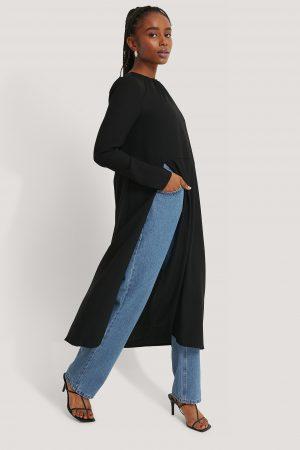 Kristin Rödin x NA-KD High Slit Midi Dress - Black