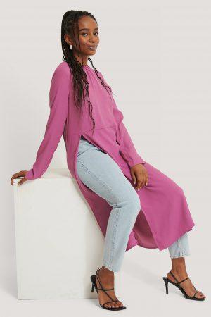 Kristin Rödin x NA-KD High Slit Midi Dress - Pink