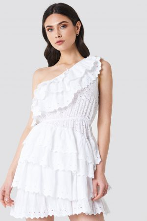 Linn Ahlborg x NA-KD All Over Flounce Dress - White