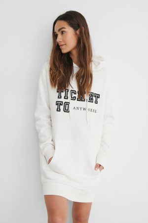 Lisa-Marie Schiffner x NA-KD Oversize Hoodie Med Tryck - Offwhite