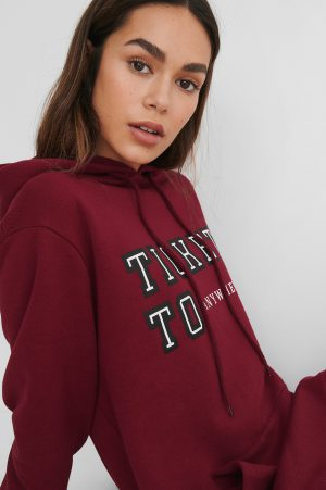 Lisa-Marie Schiffner x NA-KD Oversize Hoodie Med Tryck - Red