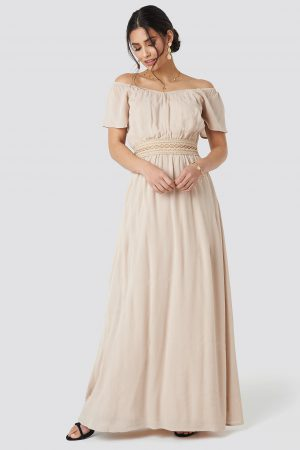 Luisa Lion x NA-KD Off Shoulder Lace Dress - Beige