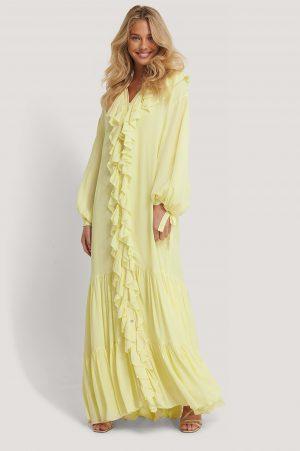 MANGO Maxiklänning I Chiffong - Yellow