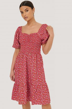 MANGO Blommig Miniklänning - Red