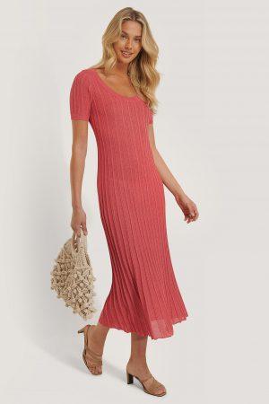 MANGO Vid Skjortklänning Med Struktur - Pink