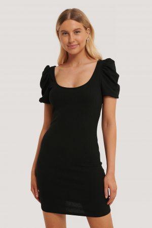 MANGO Miniklänning Med Puffärmar - Black