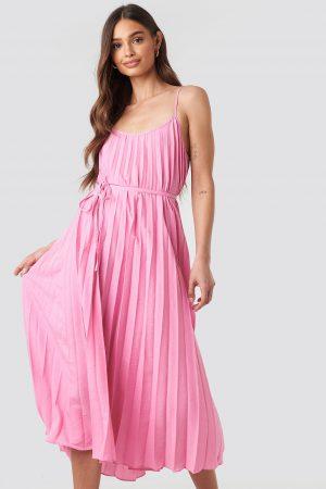 MANGO Plisado Dress - Pink