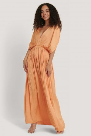MANGO Plisserad Maxiklänning - Orange