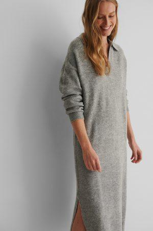 MANGO Stickad Klänning - Grey