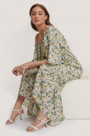 MANGO Maxiklänning Med Blommönster - Multicolor