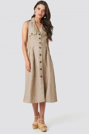 MANGO Seul Dress - Beige