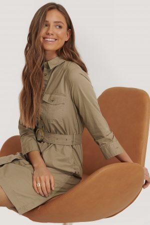 MANGO Skjortklänning Med Skärp - Brown