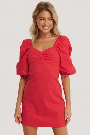 MANGO Miniklänning Med Puffärmar - Red