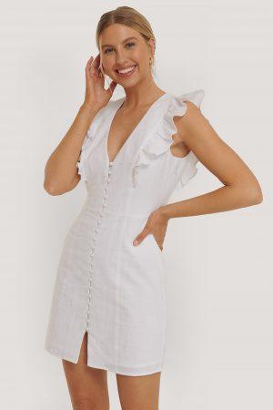 Nadine x NA-KD Miniklänning Med Knappdetaljer - White