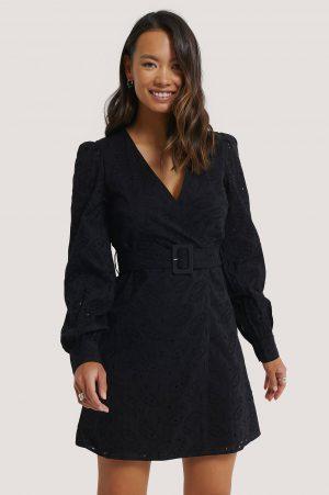 NA-KD Boho Anglaise Overlap Dress - Black