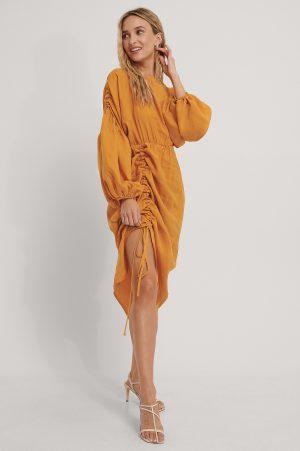 NA-KD Trend Draperad Midiklänning I Ballongmodell - Orange
