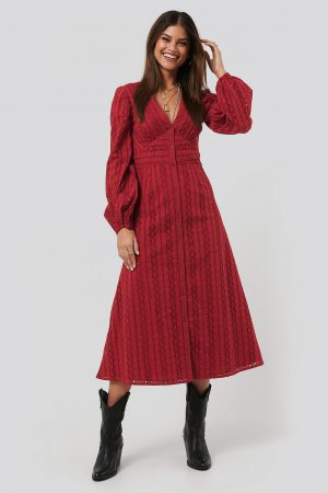 NA-KD Boho Balloon Sleeve Anglaise Midi Dress - Red