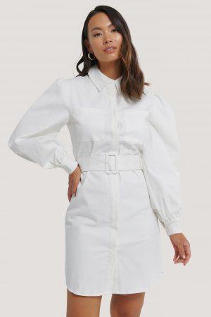 NA-KD Skjortklänning Med Skärp - White