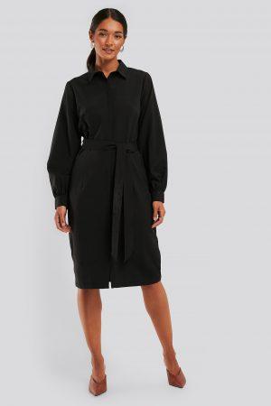 NA-KD Recycled Skjortklänning Med Ballongärmar - Black