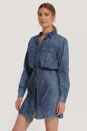 NA-KD Belted Denim Dress - Blue