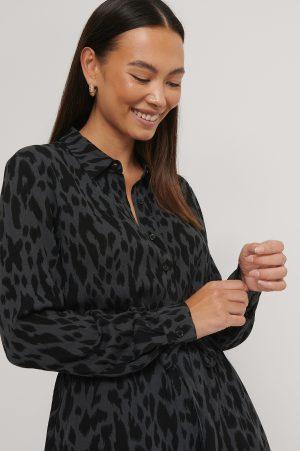 NA-KD Skjortklänning Med Bälte Och Tryck - Multicolor