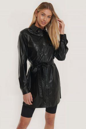 NA-KD Trend Skjortklänning I Pu Med Bälte - Black
