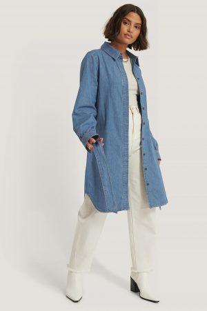 NA-KD Reborn Ekologisk Skjortklänning I Denim Med Bälte - Blue