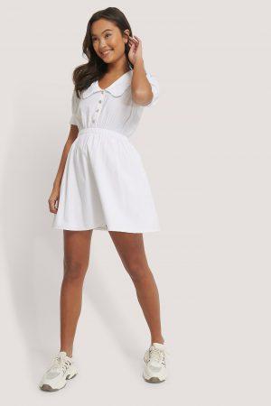 NA-KD Trend Miniklänning Med Kragdetalj - White
