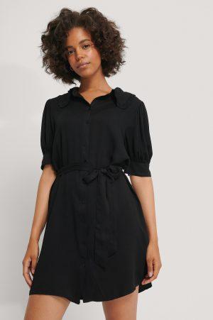 NA-KD Skjortklänning Med Kort Ärm - Black