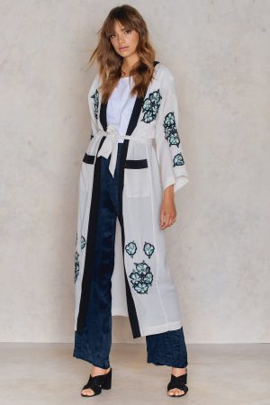 NA-KD Boho Big Pocket Embroidery Caftan - Grey