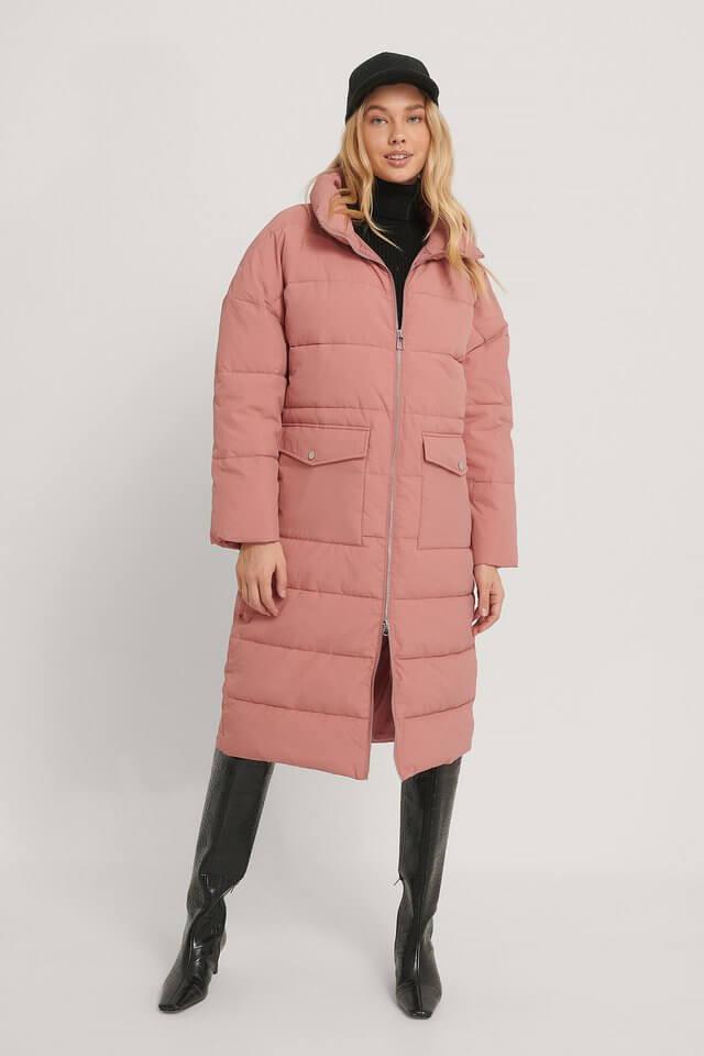 lång rosa jacka dam