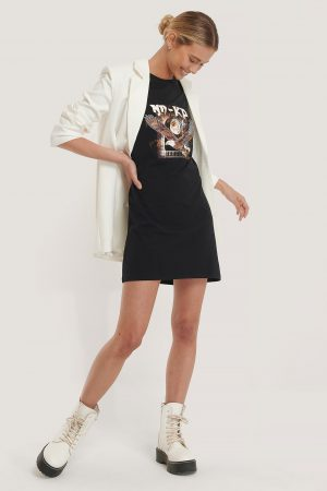NA-KD T-Shirtklänning - Black