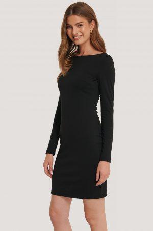 NA-KD Boat Neck Bodycon Dress - Black