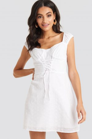 NA-KD Boho Broiderie Anglais Lace Up Mini Dress - White