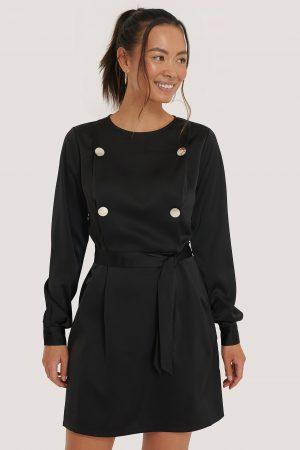 NA-KD Classic Miniklänning Med Knytning I Midjan - Black